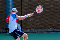 Kevin Anderson follows through at the Winston-Salem Open