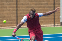 Jarmere Jenkins returns a volley at the Winston-Salem Open