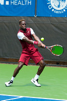 Jarmere Jenkins uses a back-hand at the Winston-Salem Open