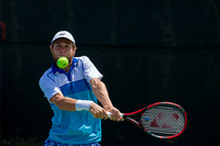 Radu Albot eyes a back-hand at the Winston-Salem Open