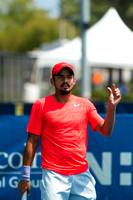 Sanam Singh gestures to the official at the Winston-Salem Open