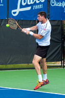 Federico Delbonis hits a baseline forehand at the Winston-Salem Open